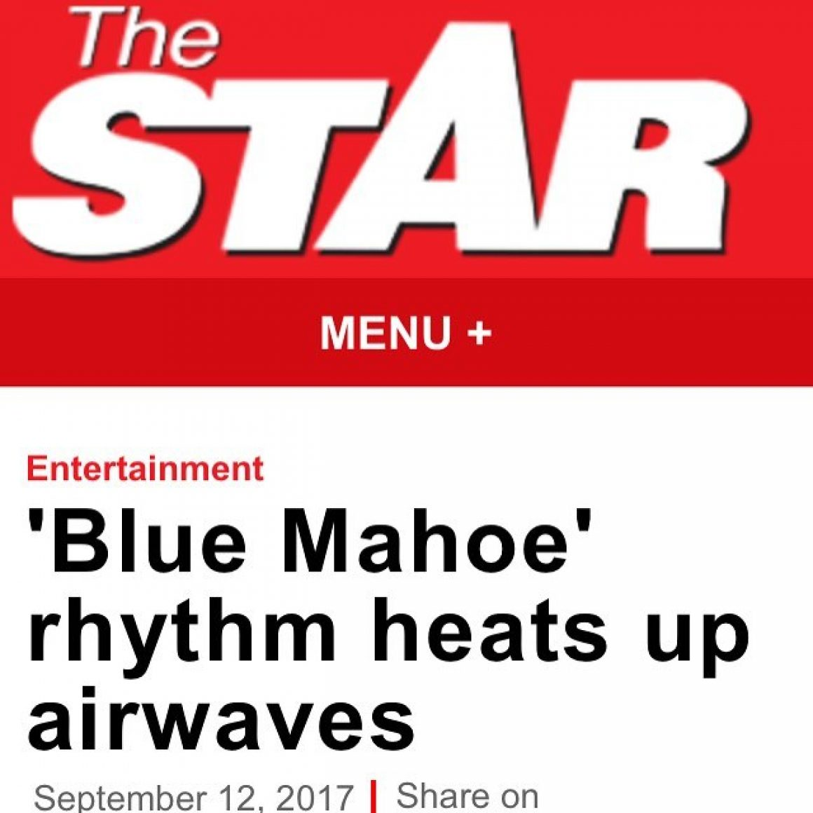 The Jamaica Star about the Blue Mahoe Riddim (Triple L Records)